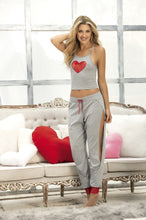 Pajama Strappy Top with Racer Back & Matching Pants Set, Grey - Morada Fashions
