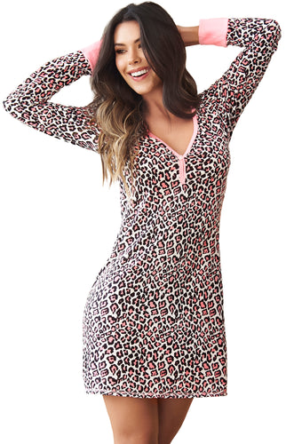 Life is Better in PJ's, Long Sleeve Sleep Dress, Animal Print