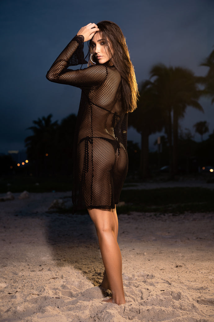SALE  !!  Cover Up, Kimono, Black Mesh, LIMITED SIZES