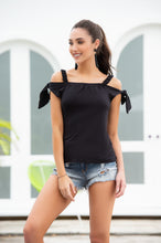 SALE  !!  Top, Off Shoulder with Sleeve Ties, Black, LIMITED SIZES