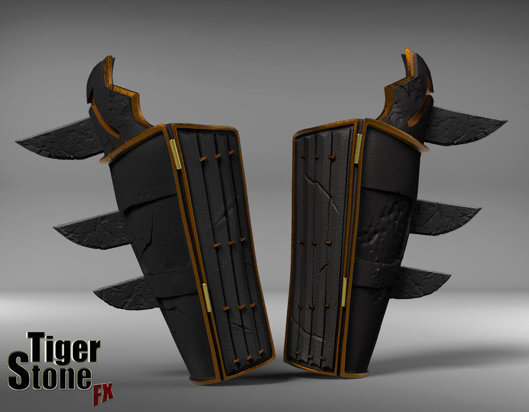 Finished sculpture of the Batman Ninja gauntlets