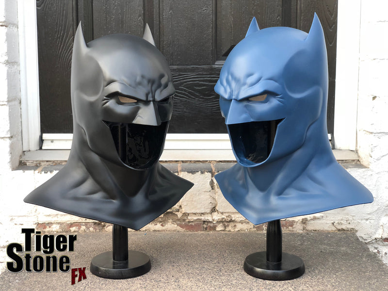 Batman Rebirth cowls in black and blue