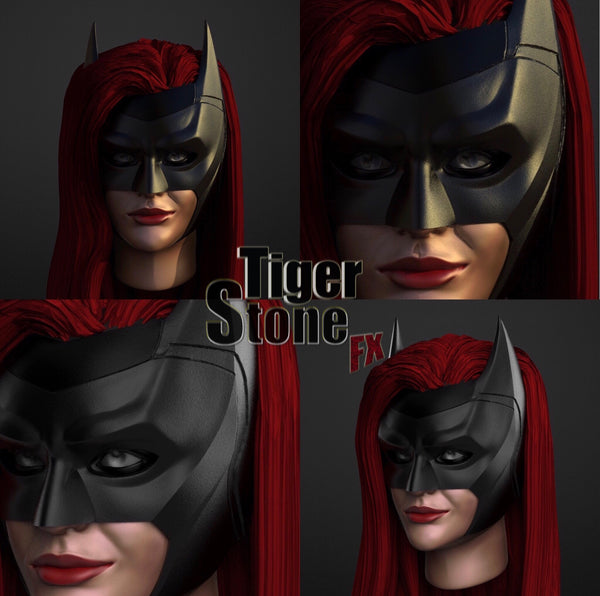CW batwoman cowl (ruby rose) - finished sculpt - by Tiger Stone FX