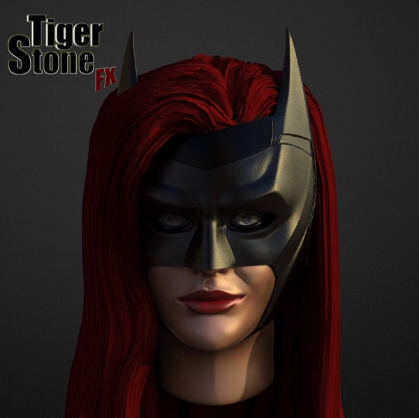 CW batwoman cowl (ruby rose) - finished sculpt (front) - by Tiger Stone FX