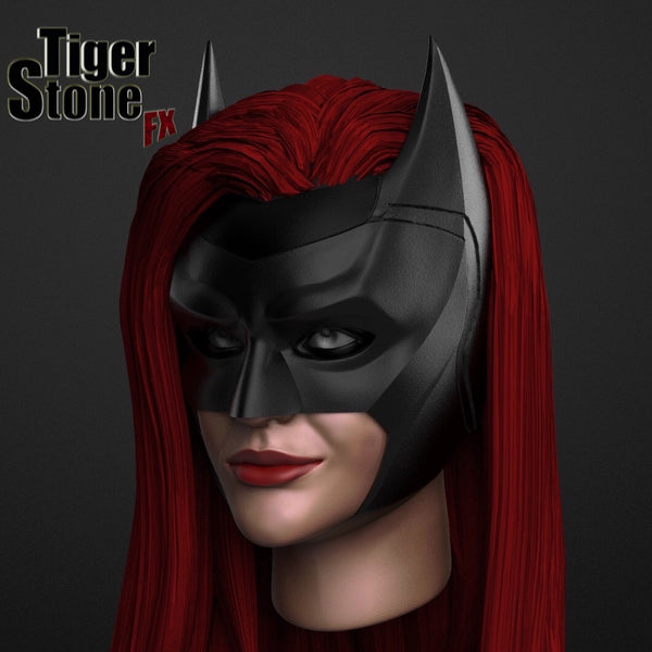 CW batwoman cowl (ruby rose) - finished sculpt (side) - by Tiger Stone FX