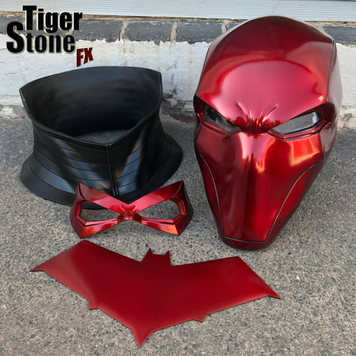 Red Hood helmet bundle in Deep Metallic Red w neck piece, chest emblem (choose from 4) & FREE face mask (choose from 5)