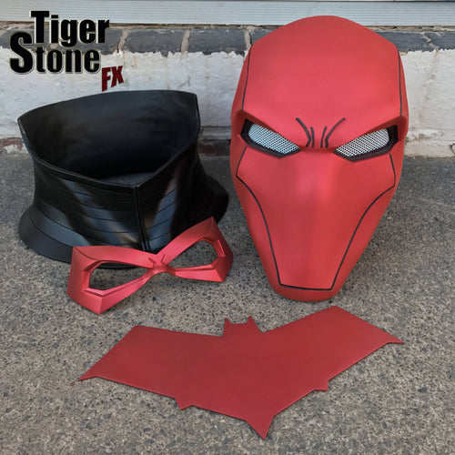 Red Hood helmet bundle in Matte Hot Metallic Red w neck piece, chest emblem (choose from 4) & FREE face mask (choose from 5)