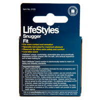 Lifestyles Snug Condoms Box Back
