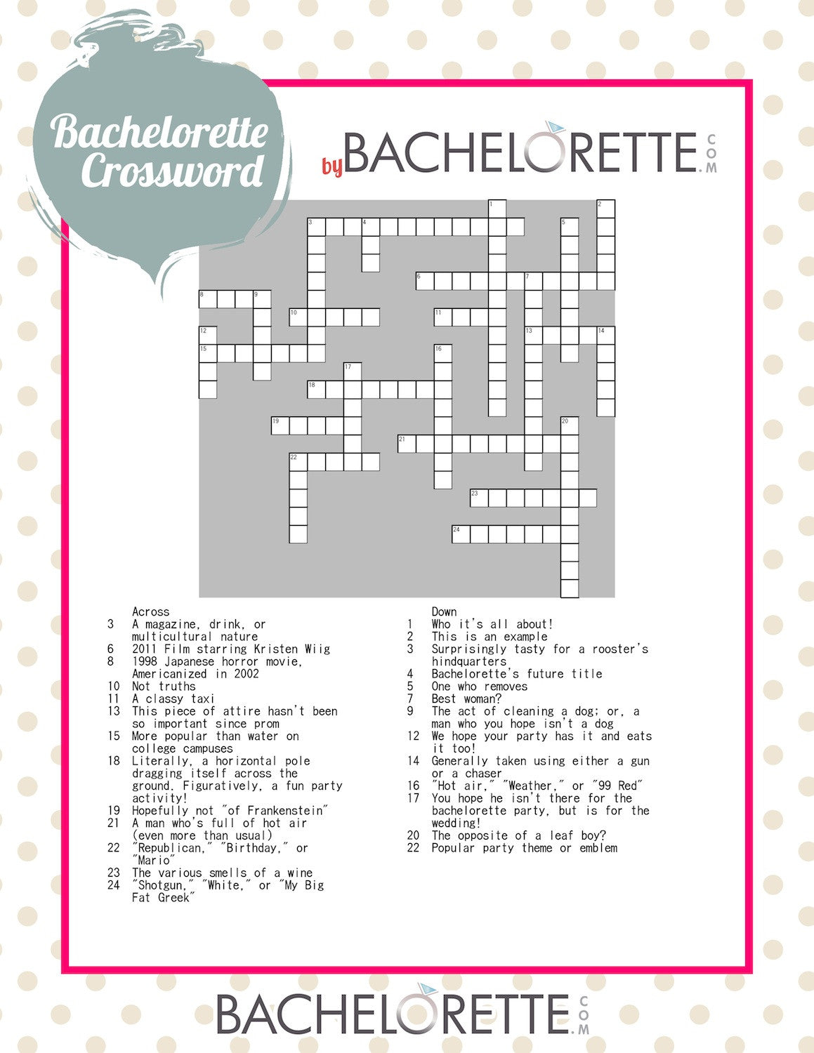 Free Bachelorette Party Game