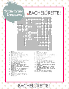 Free Bachelorette Party Game - Bachelorette Crossword