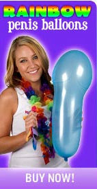 Gay bachelor party supplies - Rainbow colored penis balloons