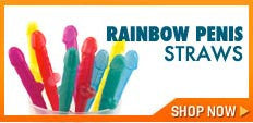 Gay bachelor party supplies - Rainbow penis straws