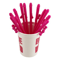 12 Pink Fidget Penis Straws - Play with Their Balls