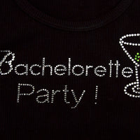 Bachelorette Party Tank - Black with Gemstones - Close Up