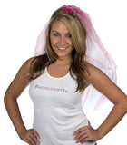 Bachelorette Tank Top - White with Pink Gemstones - Being Worn