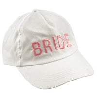 Bride Baseball Cap - White with Pink Letters