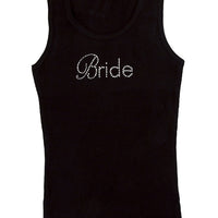 Bride Tank Top - Black with White Gemstones Spelling Bride