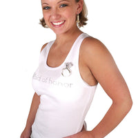 Maid of Honor Tank - White with Gemstones - Being Worn