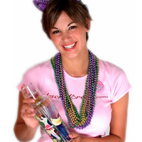 Mardi Gras Beads - One Dozen Strings - Being Worn