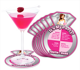 Bride-To-Be Truth or Dare Coasters with Martini Glass