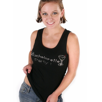 Bachelorette Party Tank - Black with Gemstones - On a Model