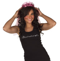 Bachelorette Tank Top - Black with White Gemstones