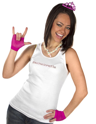 Bachelorette Tank Top - White with Pink Gemstones