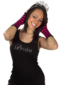 Bride Tank Top - Black with White Gemstones