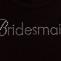 Bridesmaid Tank Top - Black with White Gemstones - Close Up view