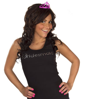 Bridesmaid Tank Top - Black with White Gemstones