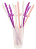 Giant Penis Straws in Pink, Purple and White- 10 Straws