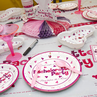 Pink and Purple Penis Party Dinner Plates on the Table