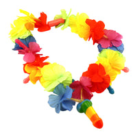 Rainbow Light-Up Pecker Flower Necklace - Batteries Included