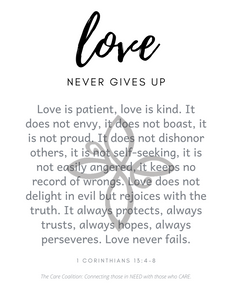 FIG TREE FREE Downloadable Wall Art - Love Never Gives Up