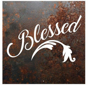 "RUSTIC METAL ""BLESSED"" SIGN - FIG TREE ~Treasures for the Heart & Home~™"