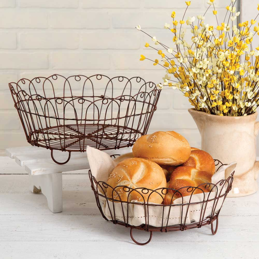 Wire Bread Baskets -Set of 2 - FIG TREE ~Treasures for the Heart & Home~™