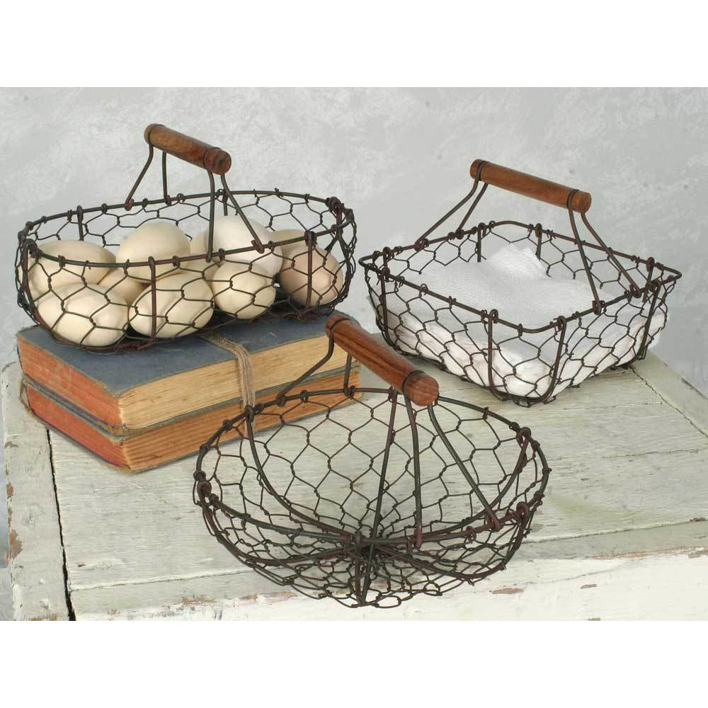 Farmhouse Style Chicken Wire Baskets ~ Set of 3 - FIG TREE ~Treasures for the Heart & Home~™
