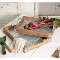 Wood and Metal Garden Party Trays - FIG TREE ~Treasures for the Heart & Home~™