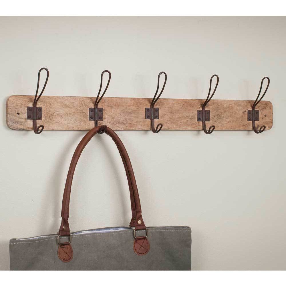 Vintage Style Wood Rack with 5 Double Coat Hanger Hooks - FIG TREE ~Treasures for the Heart & Home~™