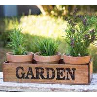 Wooden Garden Caddy with Three Pots - FIG TREE ~Treasures for the Heart & Home~™