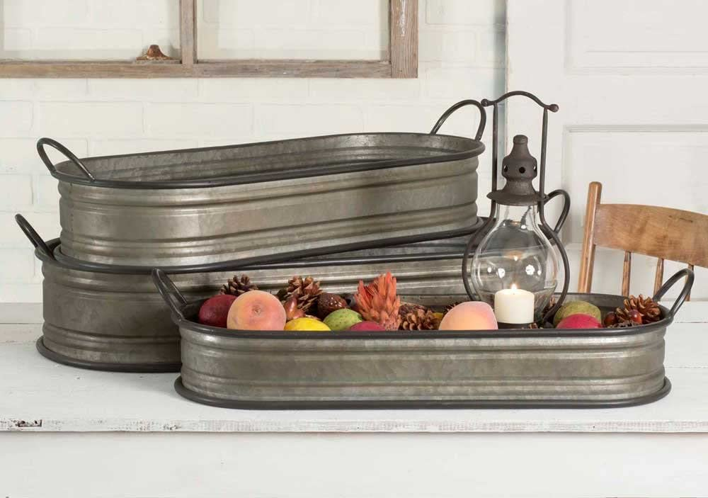Gorgeous Galvanized Oval Trays ~ Set of Three - FIG TREE ~Treasures for the Heart & Home~™