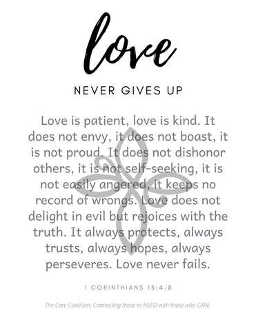 FREE Downloadable Wall Art - Love Never Gives Up - FIG TREE ~Treasures for the Heart & Home~™