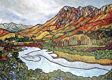 Te Mata Peak and the Tukituki River Limited Edition Art Print