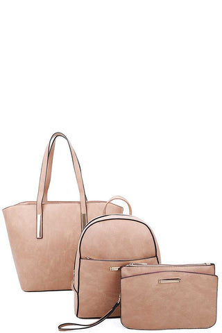 3in1 Modern Shopper Backpack And Clutch Set
