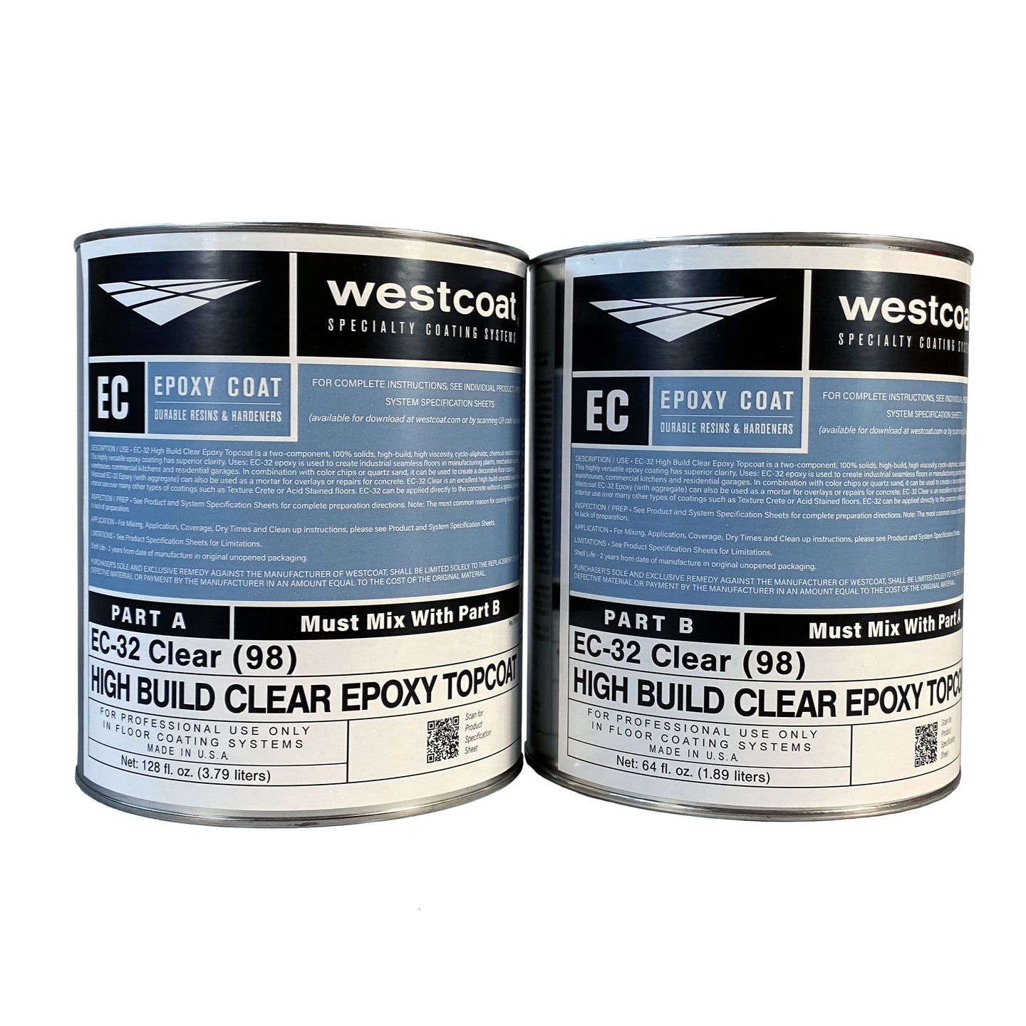 Westcoat EC-32 High Build Clear Epoxy 1-1/2 Gallon Kit