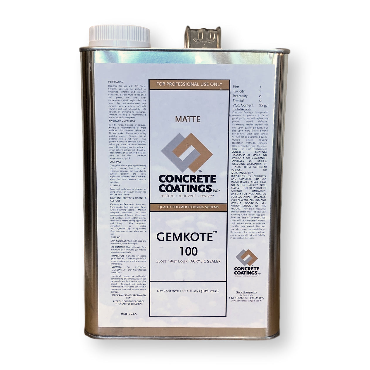 Concrete Coatings GemKote™ 100 Clear Concrete Sealer