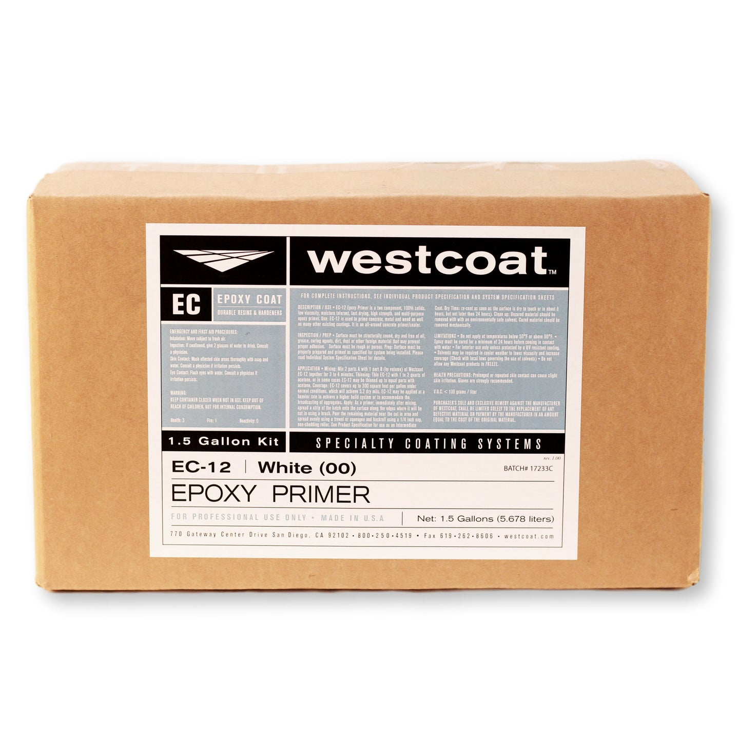 Westcoat EC-12 100% Solids Pigmented Epoxy Primer 1-1/2 Gallon Kit