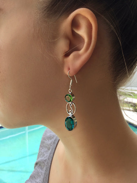 GCG Basics - Peridot and Tourmaline Silver Earrings Earrings