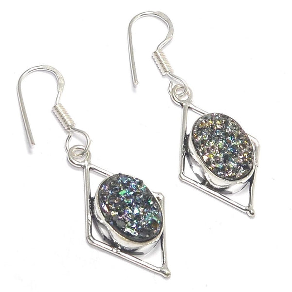 Gulf Coast Gems BOHO Black Druzy Silver Earrings Earrings