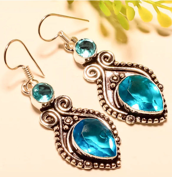Gulf Coast Gems BOHO Blue Quartz Silver Earrings Earrings